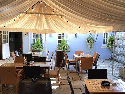 Covered terrace at The Saracens Head, Highworth